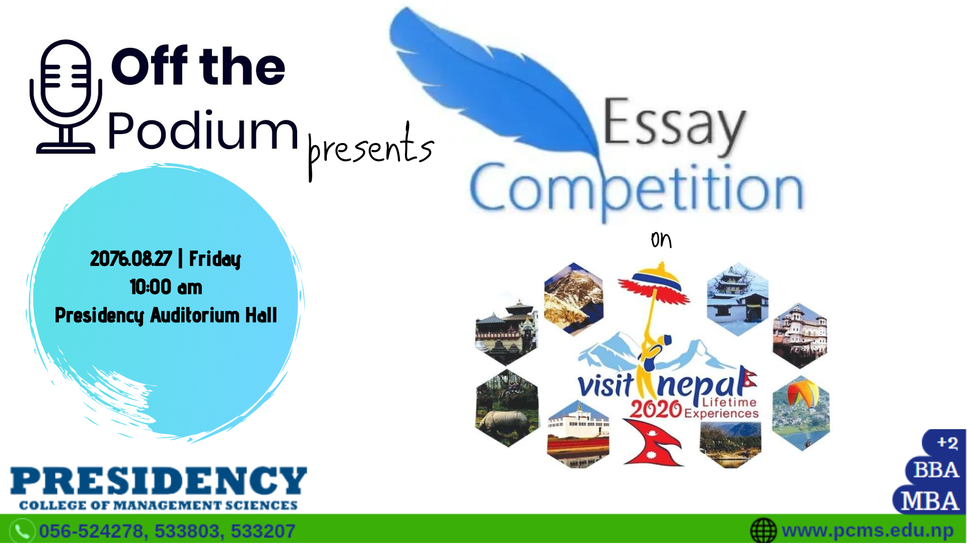 Off The Podium Club : Essay Competition (Theme: Visit Nepal 2020)